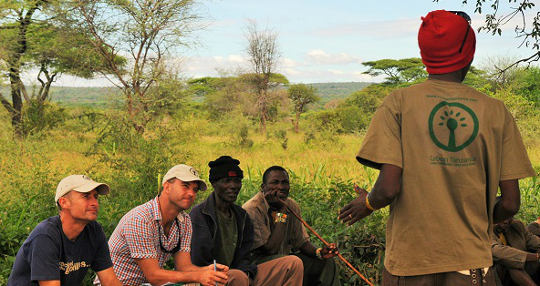Discussing forest conservation with the Hadza