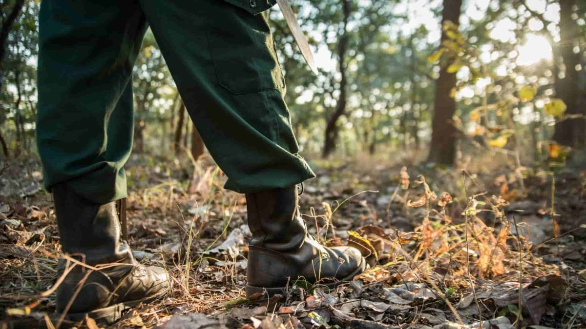 ranger boots on forest floor